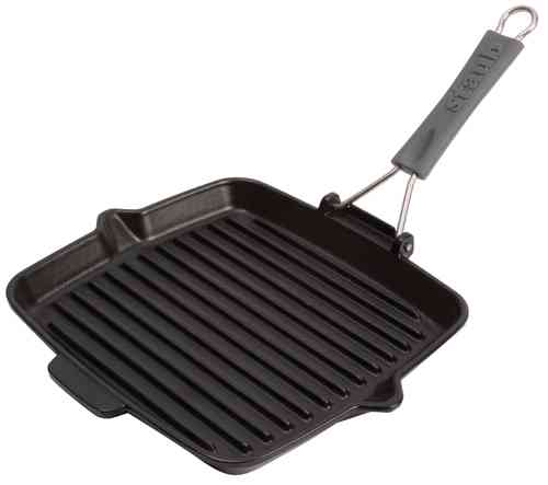 Grill pan with silicone handle