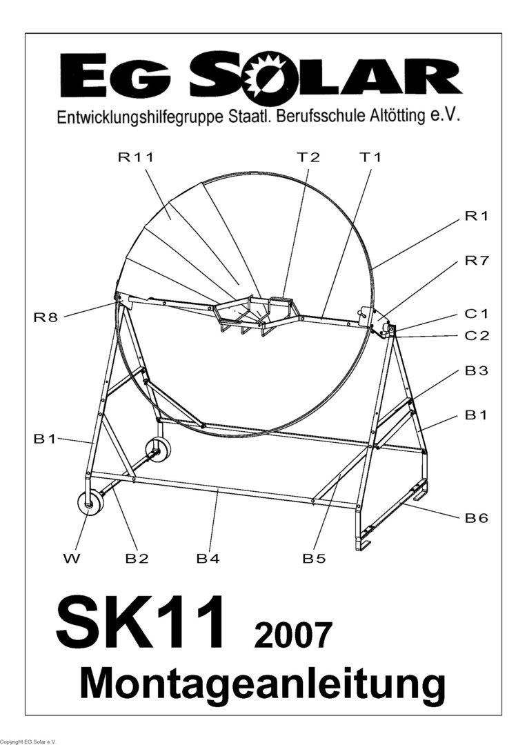 workshop drawing for solar cooker sk11
